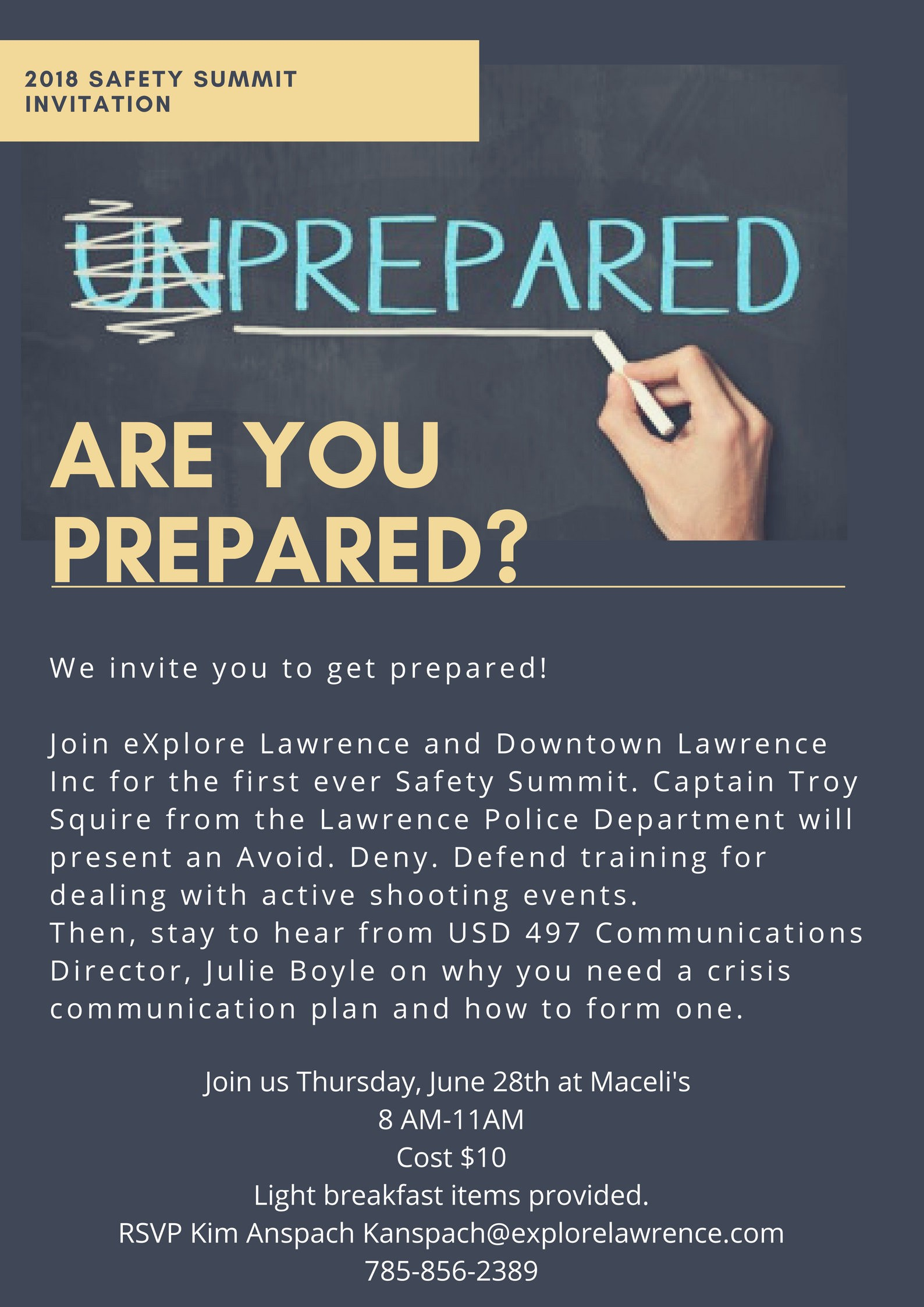 EXPLORE LAWRENCE AND DOWNTOWN LAWRENCE INC HOSTING SAFETY SUMMIT