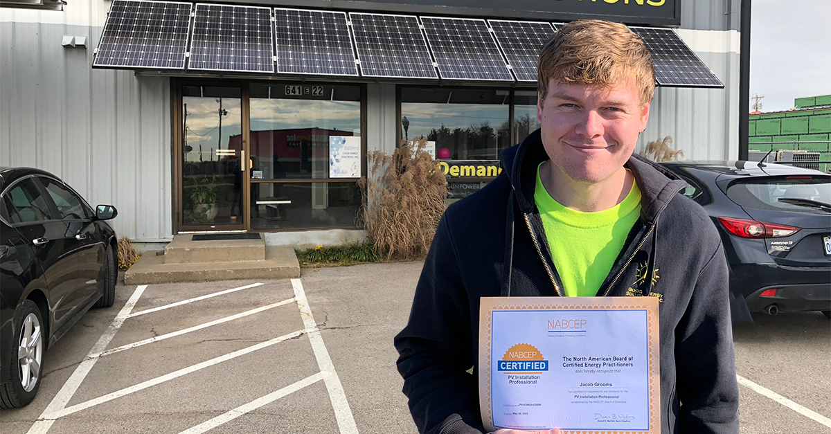 Local Solar Professional, Jacob Grooms, Earns Industry's Most Prestigious Certification