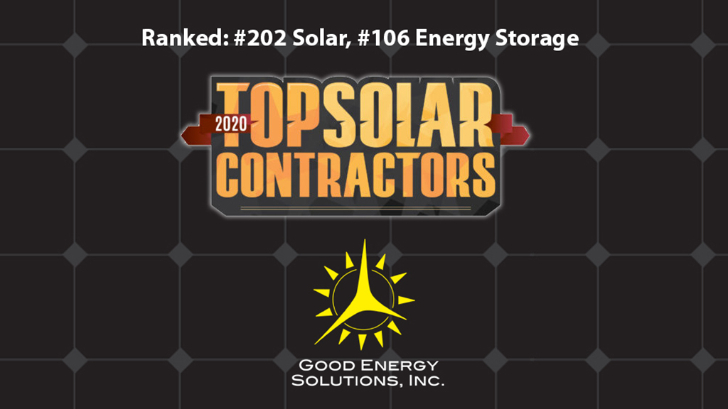 Good Energy Solutions of Lawrence, Kansas Named a 2020 Top Solar and Energy Storage Contractor by Solar Power World